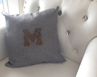 Custom Monogrammed Rhinestone Pillow - Your choice of color and letter