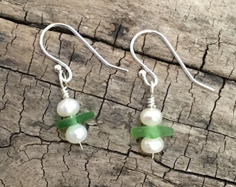 Sea glass and pearl earrings
