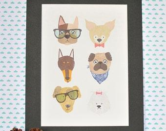 a4 a3 funny dog face colourful illustration art print