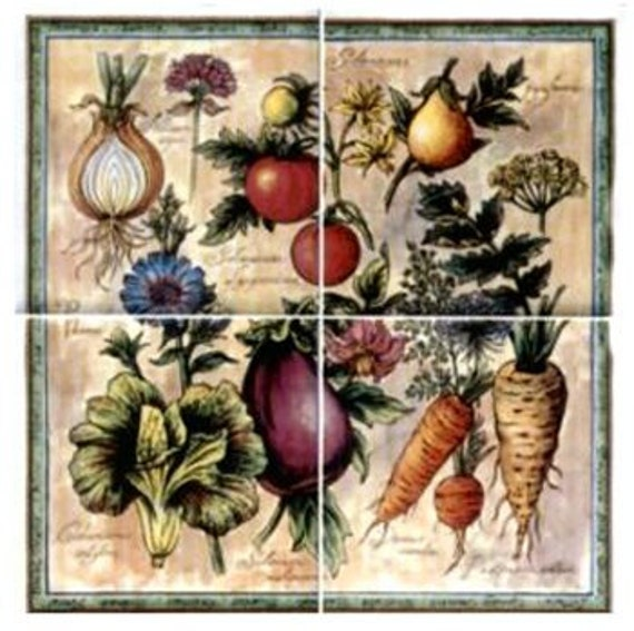 Kitchen Tiles Fruits Vegetables: Vegetable Assortment Ceramic Tile Range Stove Backsplash
