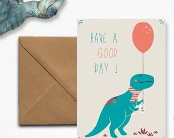 """Dinosaur"" and his balloon - envelope kraft card"