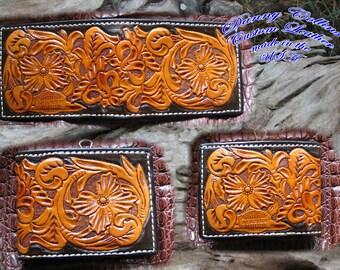 Hand tooled mens bi-fold wallet