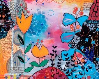 Flower mixed media painting Espoir d'été 8x8 on wood panel nature with big bird