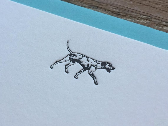 Dalmatian - Letterpress Flat Note Card Set / Greeting Card Set / Cute / Animal Theme - 4 cards
