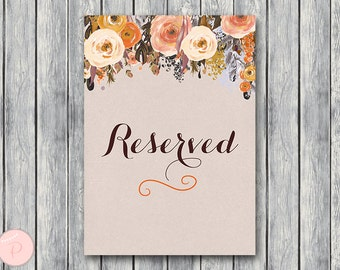 Reserved sign, Wedding Reserved seating sign, Reserved table sign, Wedding sign, Printable sign, Wedding decoration sign wd100 TH39