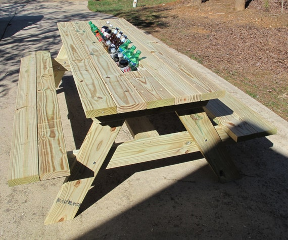 Picnic Table with Built-In Cooler by NGFoothillsFurniture on Etsy