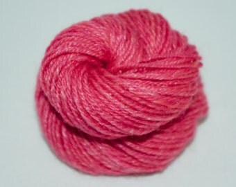 Handspun 3ply Yarn, mini skein, merino, firestar, bamboo, 40 yards, 11 grams, pink, sparkle