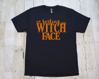 Resting witch face funny Halloween shirt, Witch shirt, Funny gym shirts, Workout clothes, Gym tops, Fitness shirts, TBS024
