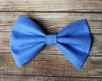 Chambray Blue Fabric Hair Bow