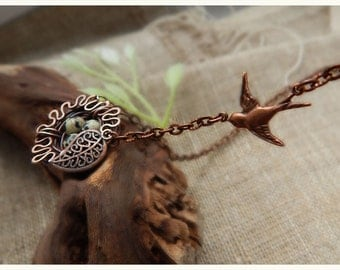 Dalmatian jasper necklace copper wire winding Nest,  natural stone, gift for her