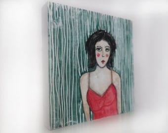 Original painting, watercolors, unique art, painting on wood, female portrait on wood, modern painting, interior design, Original art,