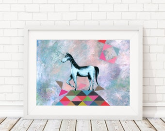 "geometric print - Giclee art print - fine art Print - poster Mixed Media Collage ""UNICORN"" fairy geometric triangle geometry"