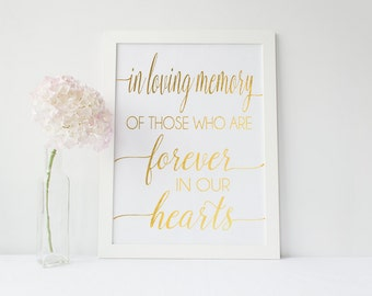 Real Gold Foil In Loving Memory Print - Color Foil Memory Table Sign (ID78)