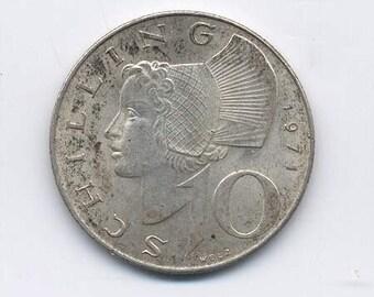 Austrian 1971 Silver 10 Schillings