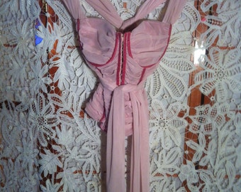 Antique pink top with ribbons