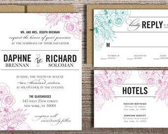 Hand Drawn Flowers, Modern Type Wedding Invitation Suite - Printable Wedding Invitation Suite, DIY Wedding Invitation