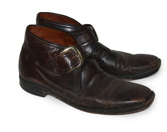 Vintage Brown Leather Buckled Men's Beatles Shoes Ankle Boots 1960s 1970s Size  11.5 AA