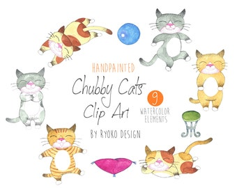 Cat watercolor clip art, lazy cat, kitten, animal, pet, fat cat, illustration, clipart, printable,nursery, instant download, Commercial Use