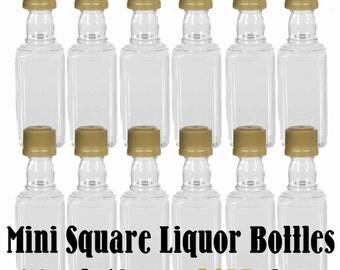 Mini SQUARE Plastic Alcohol 50ml Liquor Bottle Shots + GOLD Caps, 12 bottles to Make Party Favors for Weddings, Birthdays, Adult Parties