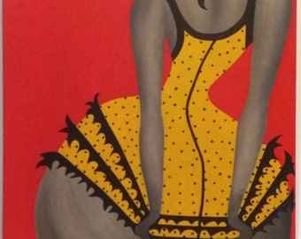 "Acrylic painting ""Woman in underwear"" 50 x 70 (cm)"