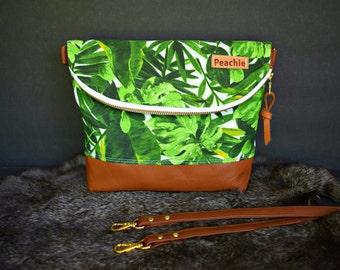 Ready to ship palm leaves crossbody purse, crossbody bag, genuine leather crossbody, tropical leaves bag,medium crossbody purse, everyday