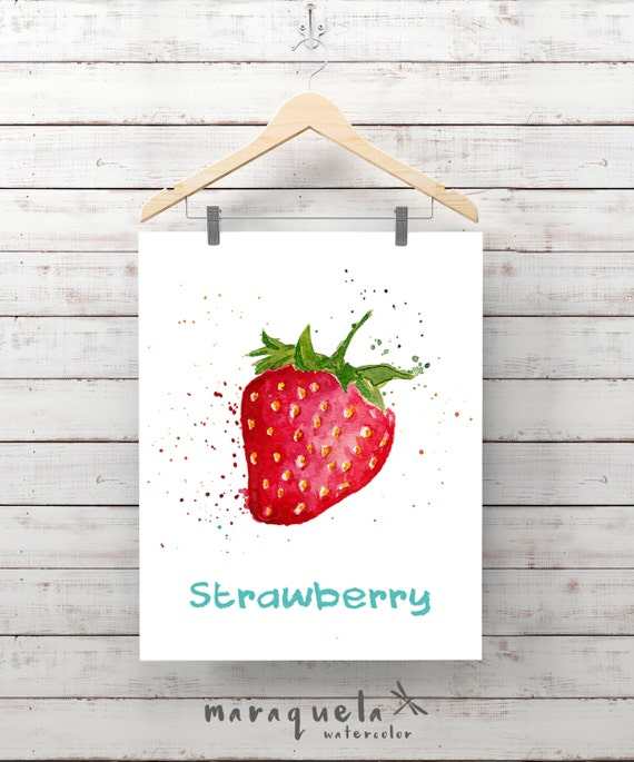 STRAWBERRY Illustration Watercolor, art print, painting , gift for her, fruits prints , kitchen, living-room, strawberries, decor wall home