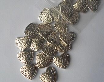 10/25 x Large Tibetan Silver Irish Celtic Style Heart Beads 17mm IE10