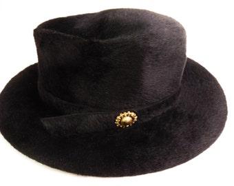 Brimmed 1960's hat, Swedish, Modisten, hippie, boho, black, furry velvet, Carnaby Street style