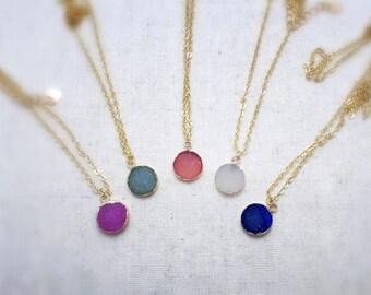 Druzy pendant necklace, drusy necklace, druzzy necklace, druzy necklace, gold necklace, pendant necklace, druzy jewelry, druzy