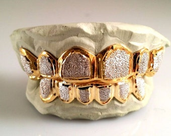 8 Top 8 Bottom Punchout Silver w/ Gold Plating two tone