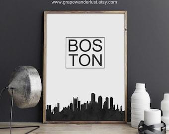 Boston skyline, Boston art, Boston poster,  Massachusetts art, Massachusetts poster, typography print, Black and white art, scandinavian art