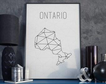 Canada Ontario art Ontario print Ontario map Canada map Canada art Geometric art Scandinavian style  Minimalist art gift for christmas