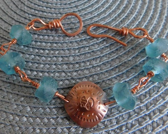 Om and Blue Recycled Glass Copper Bracelet