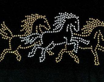 Womans LONG SLEEVE Top Sparkling Rhinestone Three Running Horses Design 12151