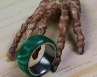 Handmade Ring With Stainless Steel Insert  (Pearl Green)