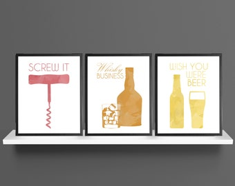 Alcohol Idioms / Sayings Wine Whisky Beer Modern Art Prints Set of 3