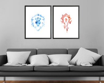 World of Warcraft Alliance and Horde Minimalist Watercolor Prints Inverted - Set of 2