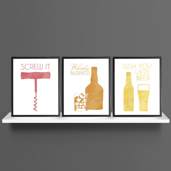 Alcohol Idioms / Sayings Wine Whisky Beer Modern Art Prints