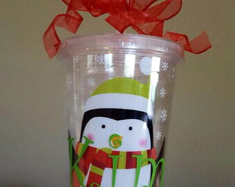 Personalized Holiday 14 oz tumbler cup
