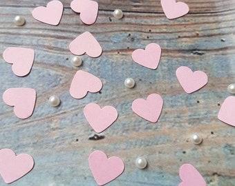 Romantic Soft Pink hearts table confetti decoration .Wedding ,love anniversary Eco