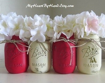 Red & White Distressed Mason Jars. Christmas Centerpieces, Rustic Home Decor, Painted Mason Jars, *Available in other Christms Colors.