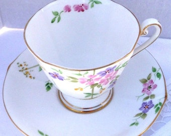 ON SALE Roslyn Fine Bone China Hand Painted Teacup and Saucer.