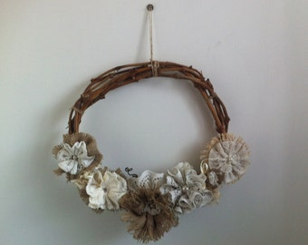 Grapevine Wreath with Hessian/Burlap & Lace Flowers