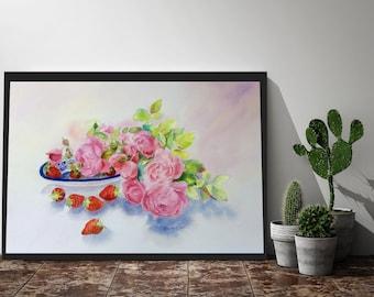 ORIGINAL Watercolour Painting, Original Art, Watercolor, Modern, Flower, Floral Painting Fine Art, Affordable Art Home Decor Living Room Art