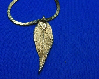 Vintage Gold Dipped Real Leaf Pendant Necklace