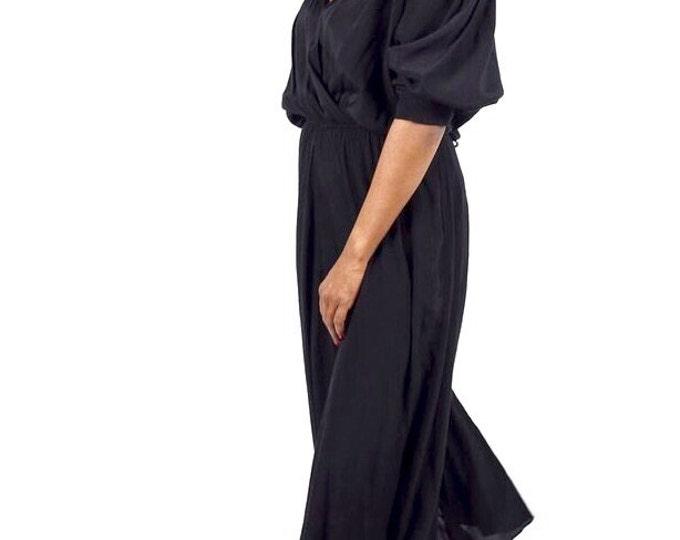 Black 80s Embellished Feather Shoulder Dress
