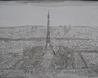 dessin peinture à l' encre de chine et lavis,vue de paris, grand format 50x65cm