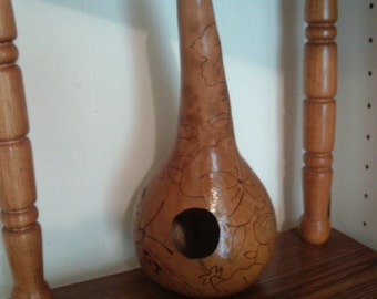 Free Shipping! Gourd Birdhouse Wood-burned Birdhouse