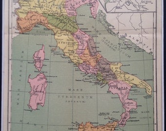 1939 ITALY Original Vintage Map - Matted and Ready to Frame - 14 x 11 inches
