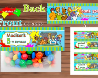 Scooby Doo Favor Bag Toppers, Personalized Favor Bag Toppers, Printable PDF
